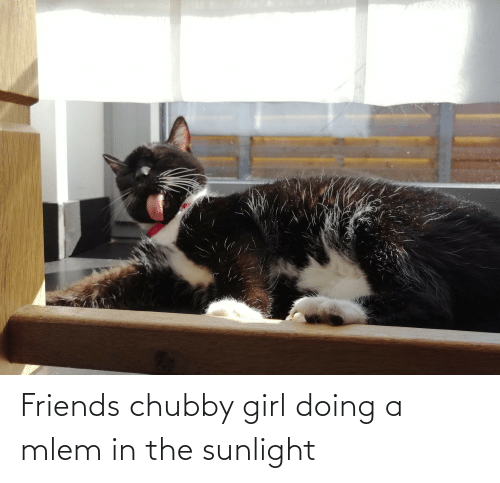 Mlem: Friends chubby girl doing a mlem in the sunlight