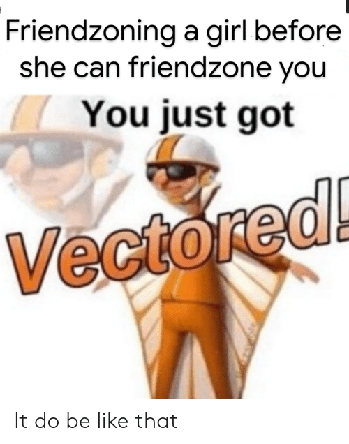 Friendzoning: Friendzoning a girl before  she can friendzone you  You just got  Vectored! It do be like that