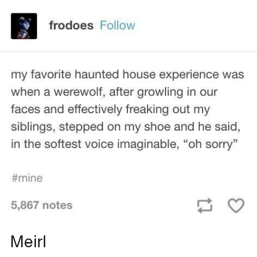 "haunted house: frodoes Follow  my favorite haunted house experience was  when a werewolf, after growling in our  faces and effectively freaking out my  siblings, stepped on my shoe and he said,  in the softest voice imaginable, ""oh sorry""  #mine  5,867 notes Meirl"