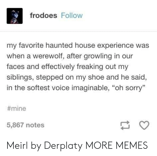 "haunted house: frodoes Follow  my favorite haunted house experience was  when a werewolf, after growling in our  faces and effectively freaking out my  siblings, stepped on my shoe and he said,  in the softest voice imaginable, ""oh sorry""  #mine  5,867 notes Meirl by Derplaty MORE MEMES"
