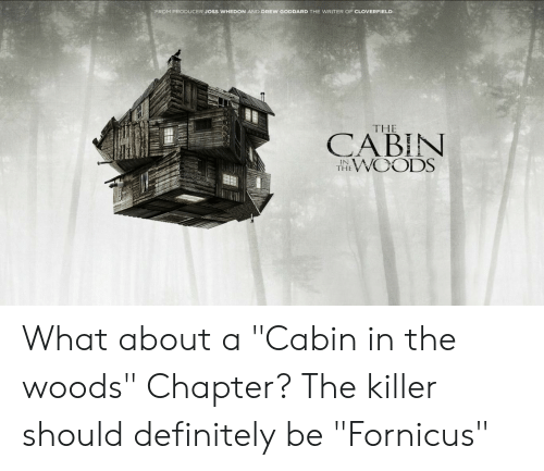 """cloverfield: FROM PRODUCER JOSS WHEDON AND DREW GODDARD THE WRITER OF CLOVERFIELD  THE  CABIN  WOODS  IN  THE What about a """"Cabin in the woods"""" Chapter? The killer should definitely be """"Fornicus"""""""