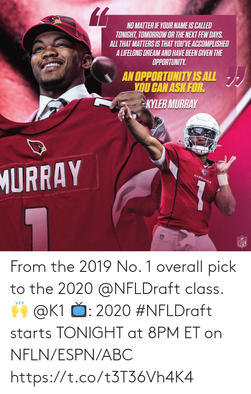 Et: From the 2019 No. 1 overall pick to the 2020 @NFLDraft class. 🙌 @K1   📺: 2020 #NFLDraft starts TONIGHT at 8PM ET on NFLN/ESPN/ABC https://t.co/t3T36Vh4K4