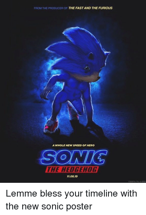 Sonic the Hedgehog: FROM THE PRODUCER OF THE FAST AND THE FURIOUS  A WHOLE NEW SPEED OF HERO  SONIC  THE HEDGEHOG  11.08.19  ©2012 Par Pics & SEGA Lemme bless your timeline with the new sonic poster
