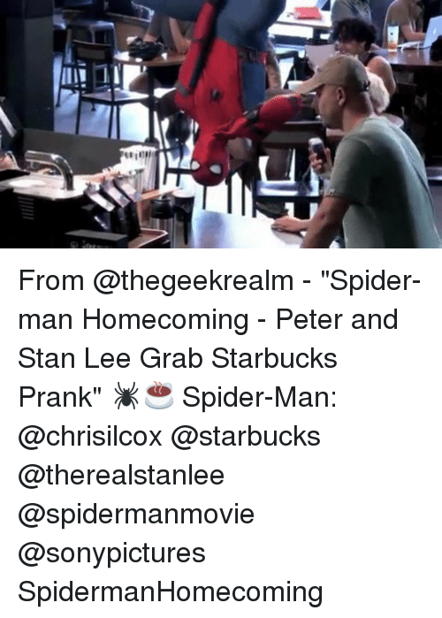 """Stanning: From @thegeekrealm - """"Spider-man Homecoming - Peter and Stan Lee Grab Starbucks Prank"""" 🕷☕ Spider-Man: @chrisilcox @starbucks @therealstanlee @spidermanmovie @sonypictures SpidermanHomecoming"""