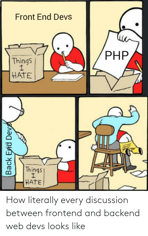 discussion: Front End Devs  PHP,  Things  HATE  Things  HATE  Back End Devs How literally every discussion between frontend and backend web devs looks like