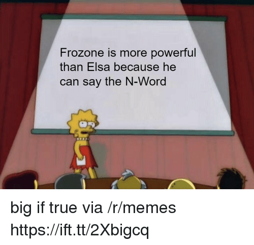 Elsa: Frozone is more powerful  than Elsa because he  can say the N-Word big if true via /r/memes https://ift.tt/2Xbigcq