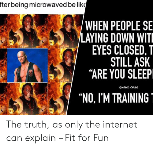 "wit: fter being microwaved be like  'WHEN PEOPLE SE  LAYING DOWN WIT  EYES CLOSED, T  STILL ASK  ""ARE YOU SLEEP  REBEL ORUS  ""NO, I'M TRAINING The truth, as only the internet can explain – Fit for Fun"
