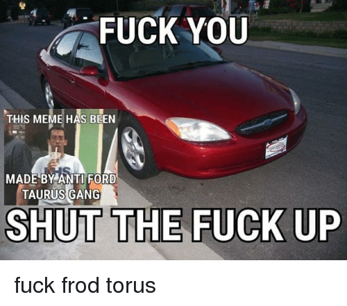 Anti Ford: FUCK YOU  THIS MEME HAS BEEN  MADE BY ANTI FORD  TAURUS GANG  SHUT THE FUCK UP