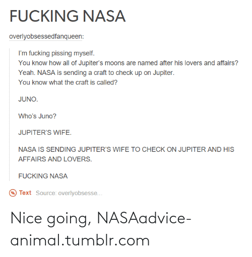 Nice Going: FUCKING NASA  overlyobsessedfanqueen:  I'm fucking pissing myself.  You know how all of Jupiter's moons are named after his lovers and affairs?  Yeah. NASA is sending a craft to check up on Jupiter.  You know what the craft is called?  JUNO.  Who's Juno?  JUPITER'S WIFE.  NASA IS SENDING JUPITER'S WIFE TO CHECK ON JUPITER AND HIS  AFFAIRS AND LOVERS.  FUCKING NASA  Text Source: overlyobsesse... Nice going, NASAadvice-animal.tumblr.com