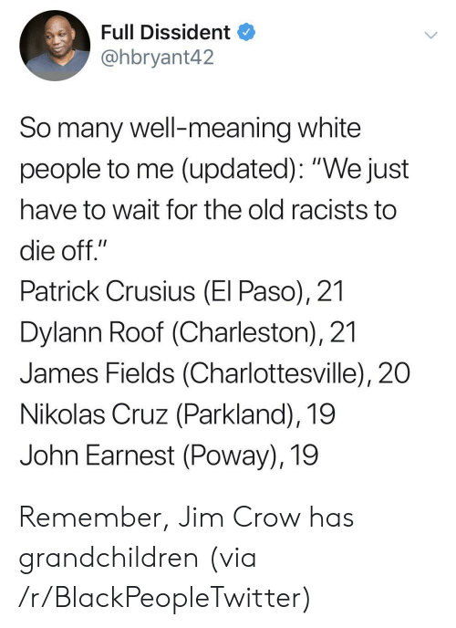 "Charleston: Full Dissident  @hbryant42  So many well-meaning white  people to me (updated): ""We just  have to wait for the old racists to  die off.""  Patrick Crusius (El Paso), 21  Dylann Roof (Charleston), 21  James Fields (Charlottesville), 20  Nikolas Cruz (Parkland), 19  John Earnest (Poway), 19 Remember, Jim Crow has grandchildren (via /r/BlackPeopleTwitter)"