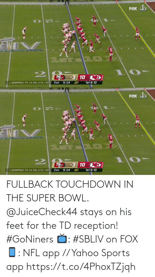 fox: FULLBACK TOUCHDOWN IN THE SUPER BOWL.  @JuiceCheck44 stays on his feet for the TD reception! #GoNiners  📺: #SBLIV on FOX 📱: NFL app // Yahoo Sports app https://t.co/4PhoxTZjqh