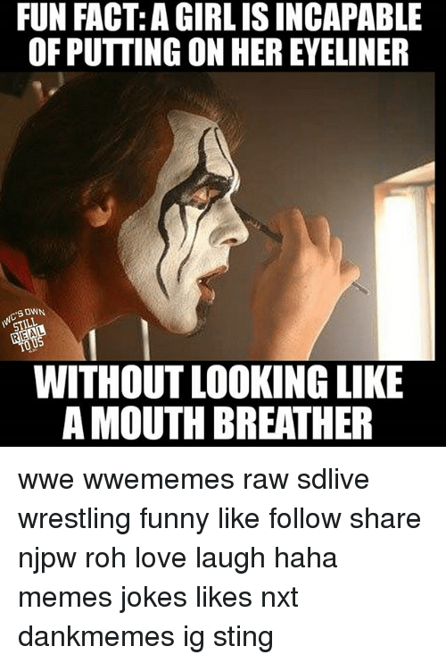 Stinged: FUN FACT: A GIRLISINCAPABLE  OF PUTTING ON HEREYELINER  SONN.  STILL  WITHOUT LOOKING LIKE  AMOUTH BREATHER wwe wwememes raw sdlive wrestling funny like follow share njpw roh love laugh haha memes jokes likes nxt dankmemes ig sting