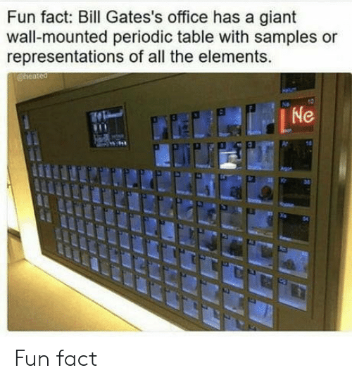 periodic table: Fun fact: Bill Gates's office has a giant  wall-mounted periodic table with samples or  representations of all the elements.  04 Fun fact