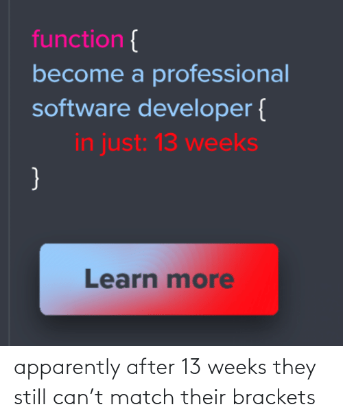 developer: function {  become a professional  software developer {  in just: 13 weeks  }  Learn more apparently after 13 weeks they still can't match their brackets
