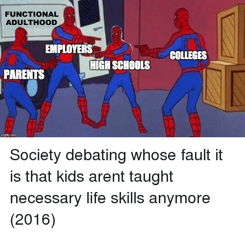 Life, Parents, and Kids: FUNCTIONAL  ADULTHOOD  EMPLOYERS  COLLEGES  HIGH SCHOOLS  PARENTS Society debating whose fault it is that kids arent taught necessary life skills anymore (2016)