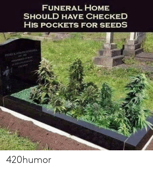 Checked: FUNERAL HOME  SHOULD HAVE CHECKED  HIS POCKETS FOR SEEDS 420humor