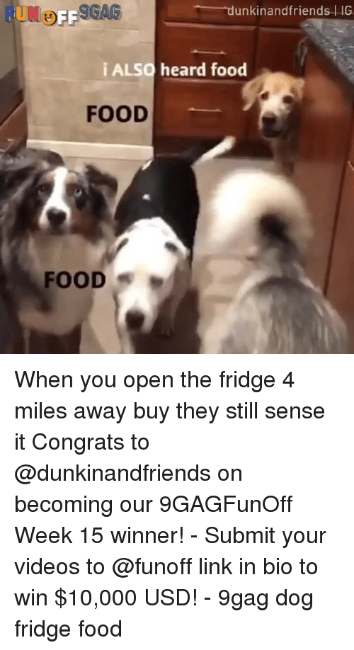 9gag, Food, and Memes: FUNo  unkinandfriends IG  i ALSO heard food  FOOD  FOOD When you open the fridge 4 miles away buy they still sense it⠀ Congrats to @dunkinandfriends on becoming our 9GAGFunOff Week 15 winner!⠀ -⠀ Submit your videos to @funoff link in bio to win $10,000 USD!⠀ -⠀ 9gag dog fridge food