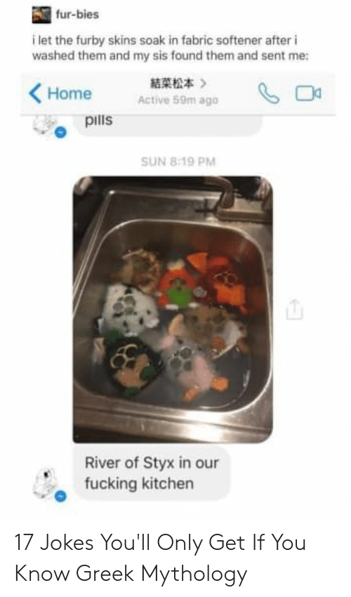 styx: fur-bies  i let the furby skins soak in fabric softener after i  washed them and my sis found them and sent me:  結菜松本  》  Home  Active 59m ago  pills  SUN 8:19 PM  River of Styx in our  fucking kitchen 17 Jokes You'll Only Get If You Know Greek Mythology