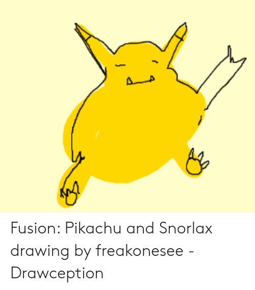 Fusion Pikachu and Snorlax Drawing by Freakonesee