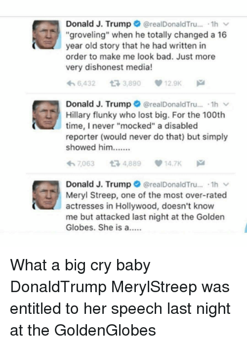 """Golden Globes, Memes, and Meryl Streep: G Donald J. Trump  he totally changed 1h  a 16  (orealDonaldTru  groveling"""" when year old story that he had written in  order to make me look bad. Just more  very dishonest media!  6,432 t 3,890 12.9K  Donald J. Trump  orealDonald Tru....1h  Hillary flunky who lost big. For the 100th  time, never """"mocked"""" a disabled  reporter (would never do that) but simply  showed him  7063 t 4,889 14.7K  h Donald J. Trump  realDonaldTru... .1h v  Meryl Streep, one of the most over-rated  actresses in Hollywood, doesn't know  me but attacked last night at the Golden  Globes. She is a What a big cry baby DonaldTrump MerylStreep was entitled to her speech last night at the GoldenGlobes"""