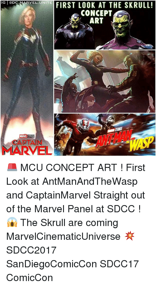 Memes, Marvel, and 🤖: G eDc MAR  IG @DC  RVEL.UNITE  VELONEFIRST LOOK AT THE SKRULL!  CONCEPT  ART  l/  MARVEL STUDIO  CAPTAIN  MARVEL 🚨 MCU CONCEPT ART ! First Look at AntManAndTheWasp and CaptainMarvel Straight out of the Marvel Panel at SDCC ! 😱 The Skrull are coming MarvelCinematicUniverse 💥 SDCC2017 SanDiegoComicCon SDCC17 ComicCon