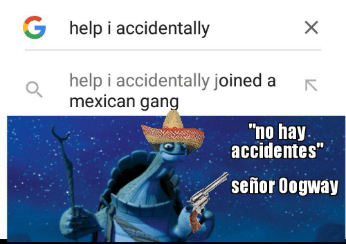"""Oogway: G help i accidentally  help i accidentally joined a  mexican gang  """"no hay.  accidentes""""  señor Oogway"""