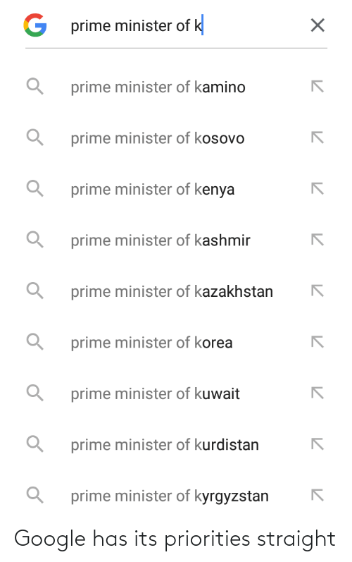 kamino: G prime minister of k  prime minister of kamino  prime minister of kosovo  prime minister of kenya  prime minister of kashmir  prime minister of kazakhstan  prime minister of korea  prime minister of kuwait  prime minister of kurdistan  prime minister of kyrgyzstan Google has its priorities straight