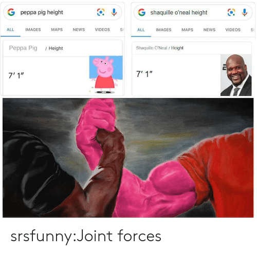 "News, Target, and Tumblr: G shaquille o'neal height  G peppa pig height  IMAGES  ALL  IMAGES  MAPS  NEWS  VIDEOS  VIDEOS  ALL  MAPS  NEWS  S  Shaquille O'Neal/ Height  Peppa Pig  /Height  7' 1""  7'1"" srsfunny:Joint forces"