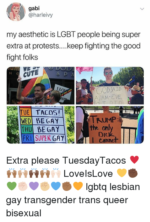 Cute, Lgbt, and Memes: gabi  @harleivy  my aesthetic is LGBT people being super  extra at protests....keep fighting the good  fight folks  N G  CUTE  CODAID  ADAM E VE  TUE TACOS!  WED BE GAY  THU BE GAY  FRI SUPEK GAY  TRUMP  on  Dick  l Cannot  the Extra please TuesdayTacos ♥️🙌🏾🙌🏽🙌🏿🙌🏾🙌🏻 LoveIsLove 💛✊🏿💚✊🏻💜✊🏼💙✊🏾🧡 lgbtq lesbian gay transgender trans queer bisexual