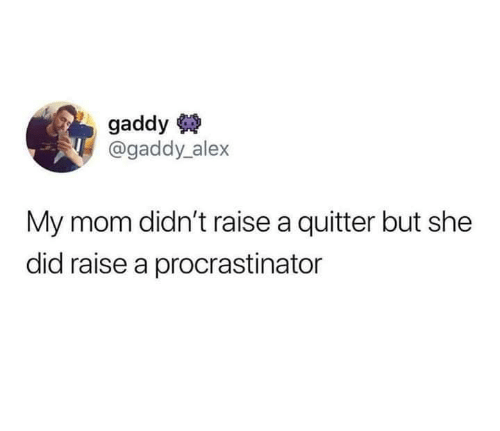 Mom, She, and Did: gaddy  @gaddy alex  My mom didn't raise a quitter but she  did raise a procrastinator