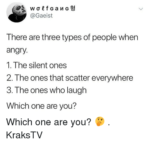 Memes, Angry, and 🤖: @Gaeist  There are three types of people when  angry.  1. The silent ones  2. The ones that scatter everywhere  3.The ones who laugh  Which one are you? Which one are you? 🤔 . KraksTV