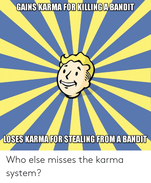 Karma, Who, and System: GAINS KARMA FOR KILLING A BANDIT  LOSES KARMA FOR STEALING FROMA BANDIT Who else misses the karma system?