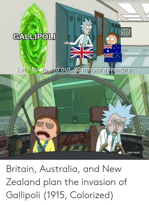 Planful: GALLIPOLI  and out 20 minute adventu  re  wiml Britain, Australia, and New Zealand plan the invasion of Gallipoli (1915, Colorized)