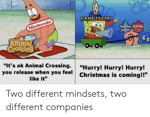 """poke: GAME FREAK  Nintendo  Poke May PokeMay  SPOCD SHIELPD  Horizons  Animal  Crossing  O O  """"It's ok Animal Crossing,  you release when you feel  """"Hurry! Hurry! Hurry!  Christmas is coming!!""""  like it"""" Two different mindsets, two different companies"""