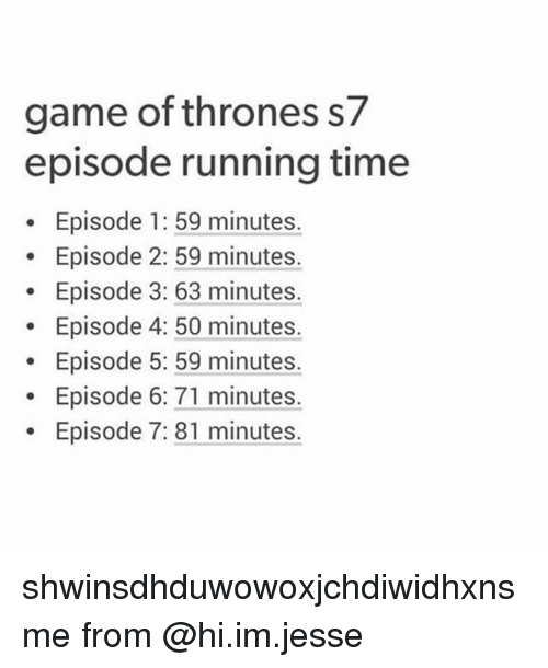 episode 1: game of thrones s7  episode running time  Episode 1: 59 minutes.  Episode 2: 59 minutes.  Episode 3: 63 minutes.  Episode 4: 50 minutes.  Episode 5: 59 minutes.  Episode 6: 71 minutes.  Episode 7: 81 minutes. shwinsdhduwowoxjchdiwidhxnsme from @hi.im.jesse