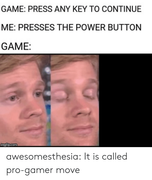Pro Gamer: GAME: PRESS ANY KEY TO CONTINUE  ME: PRESSES THE POWER BUTTON  GAME:  imgflip.com awesomesthesia:  It is called pro-gamer move