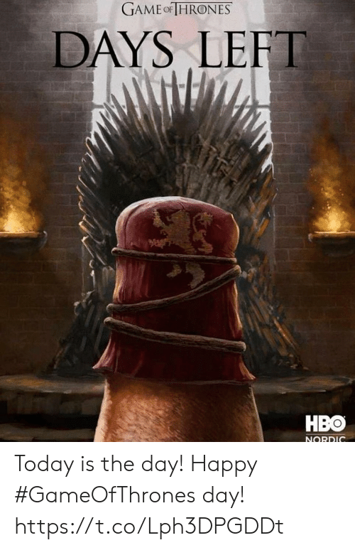 Hbo, Game, and Happy: GAME-THRONES  DAYS LEFT  HBO  NORDIC Today is the day! Happy #GameOfThrones day! https://t.co/Lph3DPGDDt