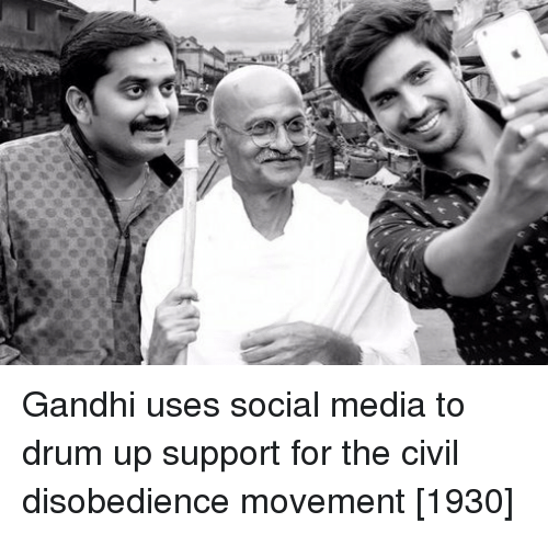 gandhi: Gandhi uses social media to drum up support for the civil disobedience movement [1930]