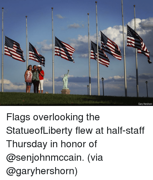 Memes, 🤖, and Via: Gary Hershorn Flags overlooking the StatueofLiberty flew at half-staff Thursday in honor of @senjohnmccain. (via @garyhershorn)