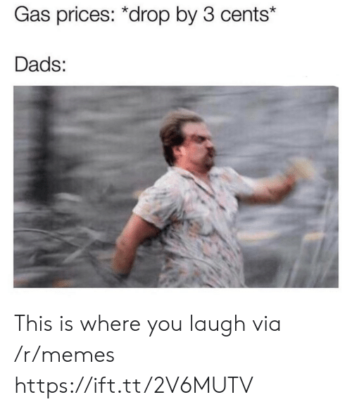You Laugh: Gas prices: *drop by 3 cents*  Dads: This is where you laugh via /r/memes https://ift.tt/2V6MUTV
