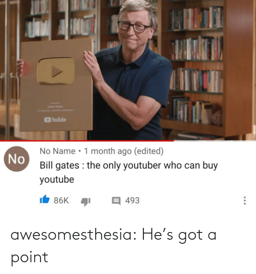 notes: Gates Notes  For pang 101.000 subscribers  YouTube  No Name • 1 month ago (edited)  No  Bill gates : the only youtuber who can buy  youtube  目493  86K  ... awesomesthesia:  He's got a point