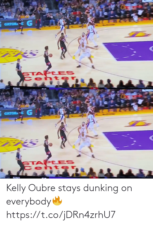 Kelly: GATORN  STAP LES  Cen te  SUNS   GATOR E G  STAP LES  Cen ter  SUNS Kelly Oubre stays dunking on everybody🔥 https://t.co/jDRn4zrhU7