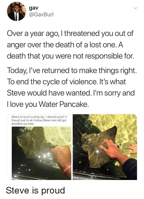 Love, Shooters, and Sorry: gav  @GavBurl  Over a year ago, I threatened you out of  anger over the death of a lost one. A  death that you were not responsible for.  Today, l've returned to make things right  To end the cycle of violence. It's what  Steve would have wanted. I'm sorry and  I love you Water Pancake  About to touch a sting ray...! should punch it  though just to let it know Steve Irwin still got  shooters out here.  PETT  ME Steve is proud