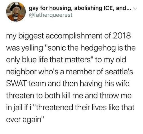 """Sonic the Hedgehog: gay for housing, abolishing ICE, and...  @fatherqueerest  my biggest accomplishment of 2018  was yelling """"sonic the hedgehog is the  only blue life that matters"""" to my old  neighbor who's a member of seattle's  SWAT team and then having his wife  threaten to both kill me and throw me  in jail if i """"threatened their lives like that  ever again"""""""