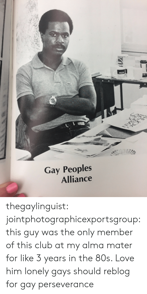Perseverance: Gay Peoples  Alliance thegaylinguist: jointphotographicexportsgroup: this guy was the only member of this club at my alma mater for like 3 years in the 80s. Love him  lonely gays should reblog for gay perseverance