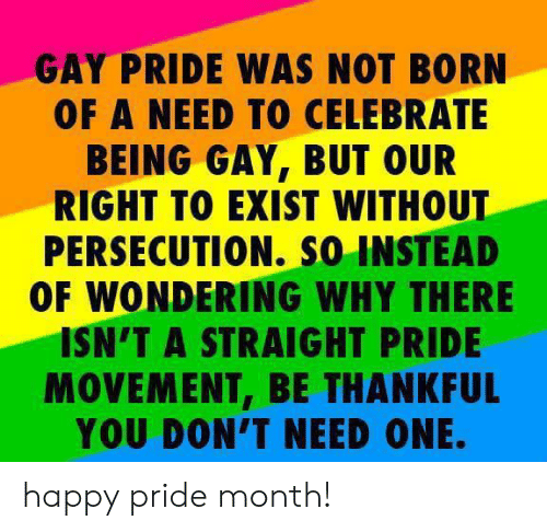 being gay: GAY PRIDE WAS NOT BORN  OF A NEED TO CELEBRATE  BEING GAY, BUT OUR  RIGHT TO EXIST WITHOUT  PERSECUTION. so INSTEAD  OF WONDERING WHY THERE  ISN'T A STRAIGHT PRIDE  MOVEMENT, BE THANKFUL  YOU DON'T NEED ONE. happy pride month!
