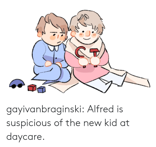 Target, Tumblr, and Blog: gayivanbraginski:  Alfred is suspicious of the new kid at daycare.