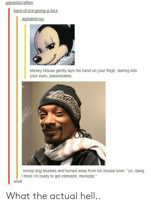 """yo dawg: gayslutscrafties:  alphakidroxy  Mickey Mouse gently lays his hand on your thigh, staring into  your eyes, passionately  snoop dog blushes and turned away from his mouse lover. """"yo, dawg.  i think im ready to get intimizzle, mickizzle.  what What the actual hell.."""