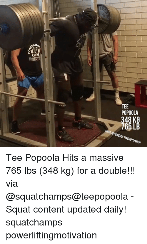 Squating: GB  KL  08  EP  o 46  P37 Tee Popoola Hits a massive 765 lbs (348 kg) for a double!!! via @squatchamps@teepopoola - Squat content updated daily! squatchamps powerliftingmotivation