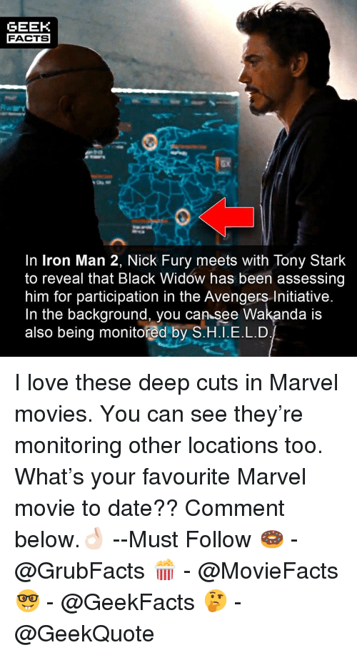 nick fury: GEEK  FACTS  ax  In Iron Man 2, Nick Fury meets with Tony Stark  to reveal that Black Widow has been assessing  him for participation in the Avengers Initiative  In the background, you can see Wakanda IS  also being monitored by S.H.I.E.L.D I love these deep cuts in Marvel movies. You can see they're monitoring other locations too. What's your favourite Marvel movie to date?? Comment below.👌🏻 --Must Follow 🍩 - @GrubFacts 🍿 - @MovieFacts 🤓 - @GeekFacts 🤔 - @GeekQuote